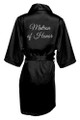 Black Silver Glitter Print Matron of Honor Satin Robe
