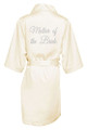 Ivory Silver Glitter Print Mother of the Bride Satin Robe