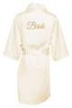Ivory Gold Glitter Print Bride Satin Robe