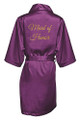Eggplant Gold Glitter Print Maid of Honor Satin Robe