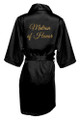 Black Gold Glitter Print Matron of Honor Satin Robe