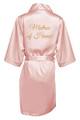 Blush Gold Glitter Print Matron of Honor Satin Robe