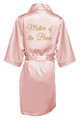 Blush Gold Glitter Print Mother of the Bride Satin Robe