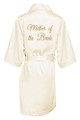 Ivory Gold Glitter Print Mother of the Bride Satin Robe