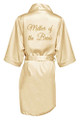 Champagne Gold Glitter Print Mother of the Bride Satin Robe