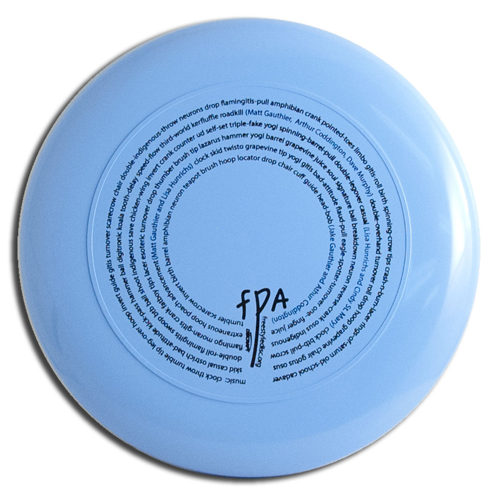 Discraft Sky-Styler FPA 2014 Design. Shows top view of blue disc.