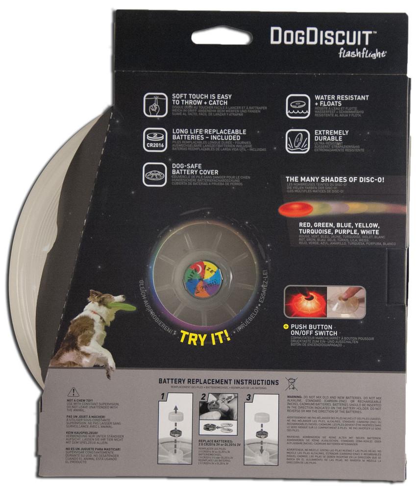 NITE IZE DOG DISCUIT LIGHT UP LED DOG DISC - DISCO, back of packaging
