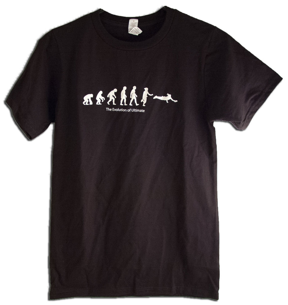 TWL T-SHIRT - EVOLUTION OF ULTIMATE FRISBEE T-SHIRT DESIGN, full front view