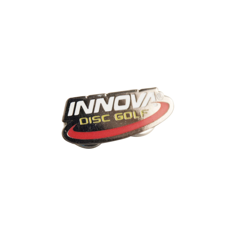 """Shows the Innova Logo Lapel Pin Button against a white background. The colors are metallic silver with white for """"Innova"""", yellow for """"Disc golf"""" and a red swoosh below."""