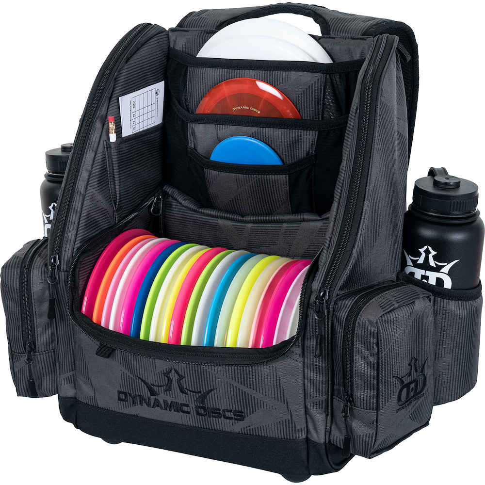 Dynamic Discs COMMANDER BACKPACK Disc Golf Bag -  Graphite Hex color. Shows a fully-loaded Commander bag with full capacity of discs, putters in the upper pockets and water bottles in the side compartments.