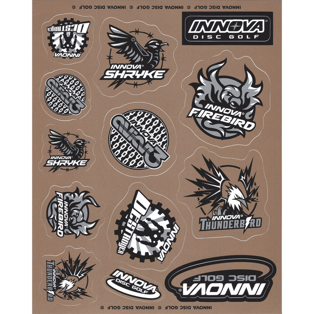 Innova DISC GOLF STICKER SHEETS  2018 Gray, Gold and Black version. Sheet has a gold background and has 13 stickers of various designs, all with black and white  detailing, some have gold as well.