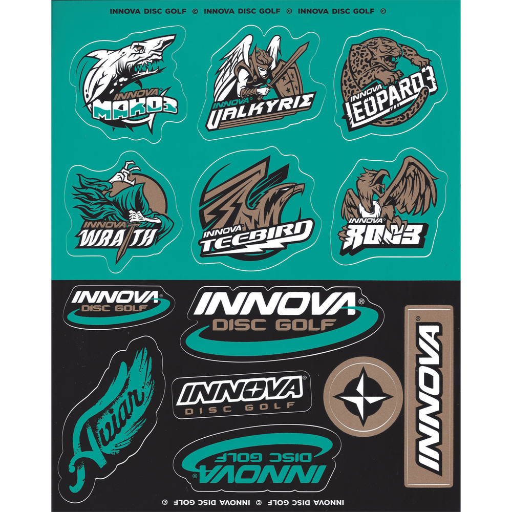 Innova DISC GOLF STICKER SHEETS  2019 Teal, Gold and Black version. Sheet has half-teal and half-black background. Each half has six stickers of various designs, all with black, white and teal detailing, some have gold as well.