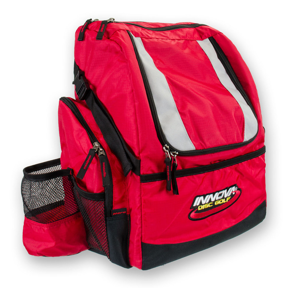 Red HEROPACK INNOVA DISC GOLF BACKPACK BAG - HOLDS 25 DISCS