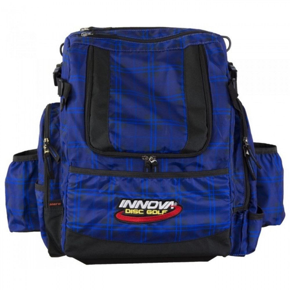 Blue Plaid HEROPACK INNOVA DISC GOLF BACKPACK BAG - HOLDS 25 DISCS