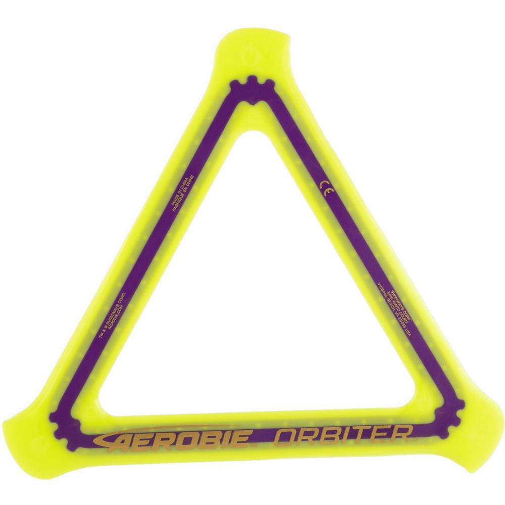 Aerobie ORBITER SOFT BOOMERANG. Top view of yellow boomerang