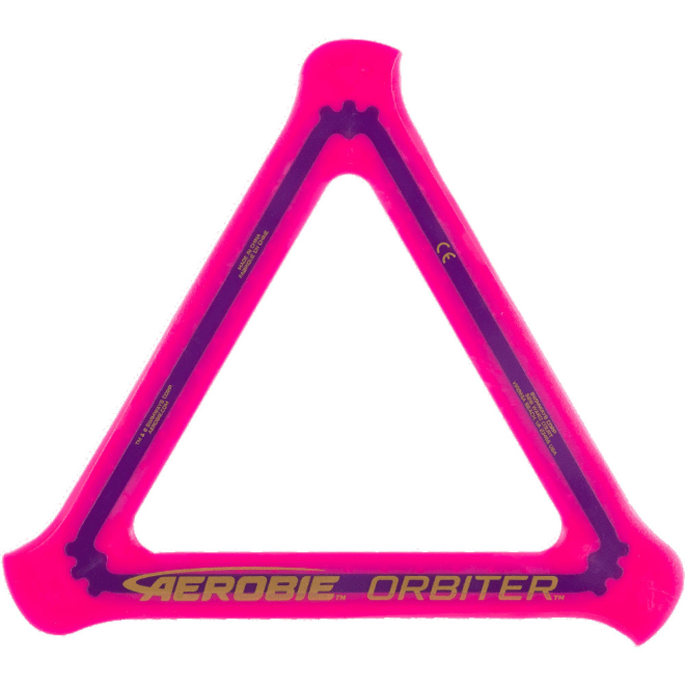 Aerobie ORBITER SOFT BOOMERANG 3 Pack. Top view of pink boomerang.