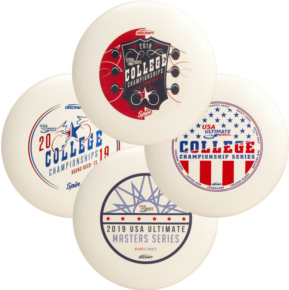 Discraft UltraStar Mystery 4 Pack - Set of Four Custom Designs. Shows four white discs of varying designs spread out and overlapping.