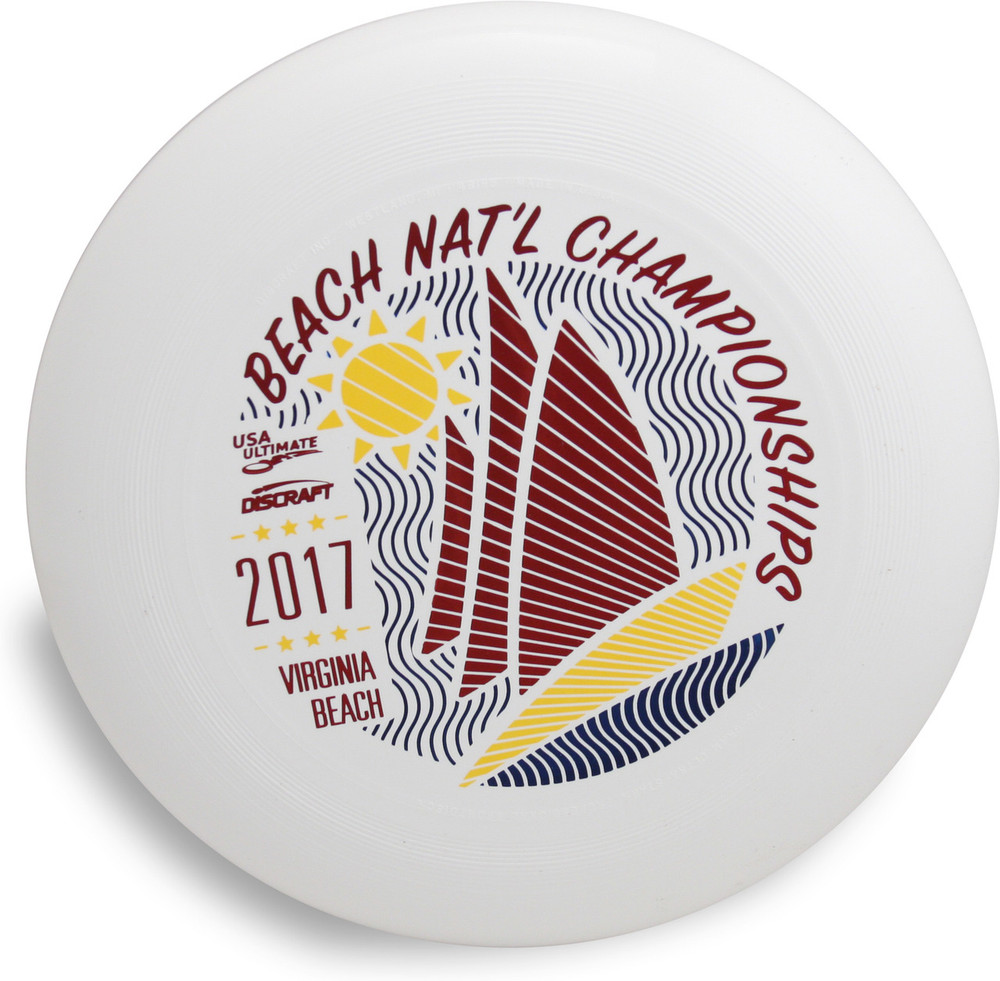 Discraft UltraStar, white, with a red and blue stamp from 2017 Beach National Championships.