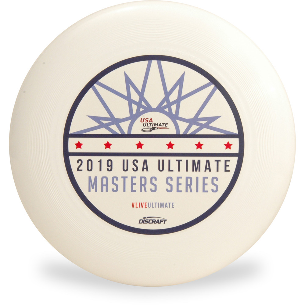 Discraft UltraStar, white, with a red, black and blue stamp from 2019 USA Ultimate Masters Series.
