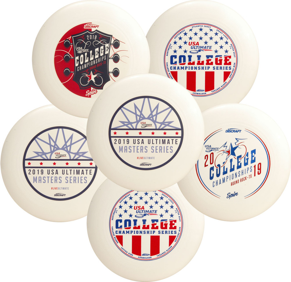 Discraft UltraStar Mystery 6 Pack - Set of Six Custom Designs. Shows six white discs of varying designs spread out and overlapping.