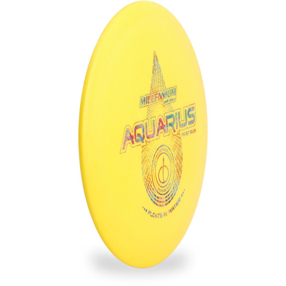 Millenium AQUARIUS Floating Disc Golf Driver Angled Top View Yellow