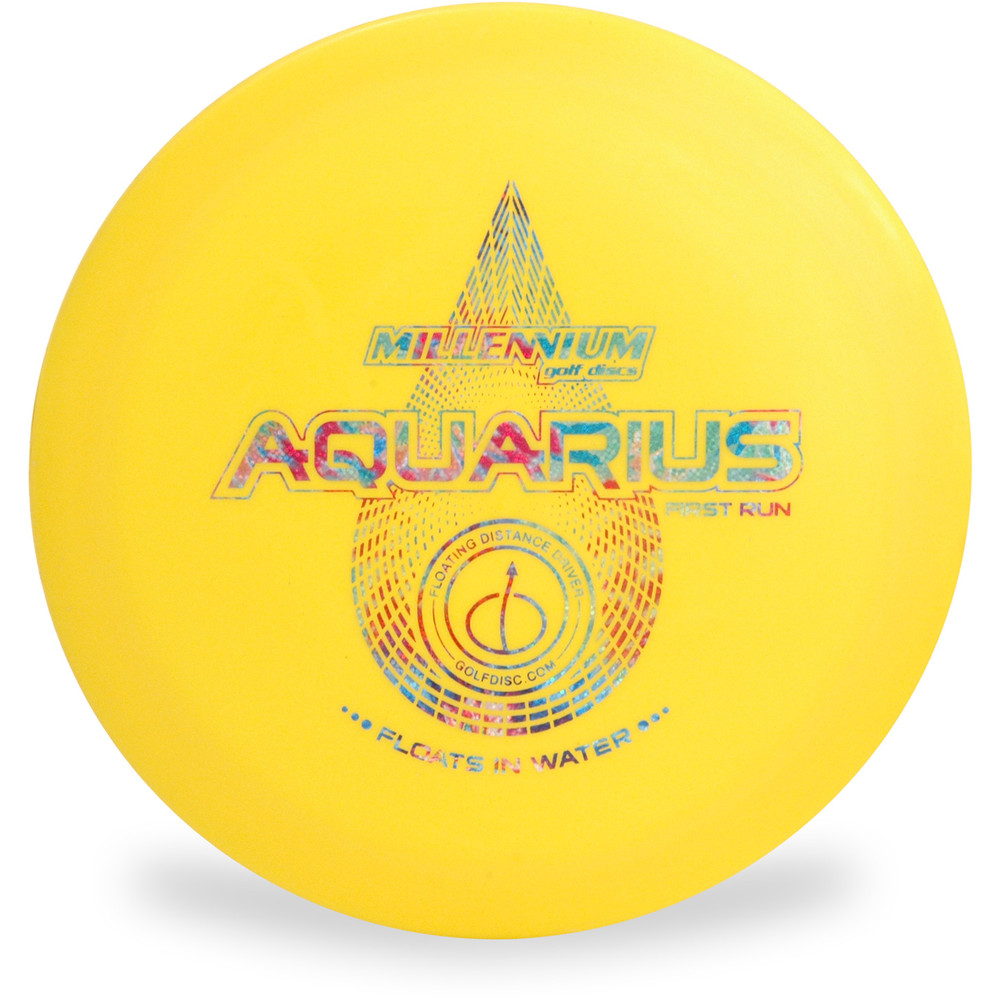 Millenium AQUARIUS Floating Disc Golf Driver Top View Yellow