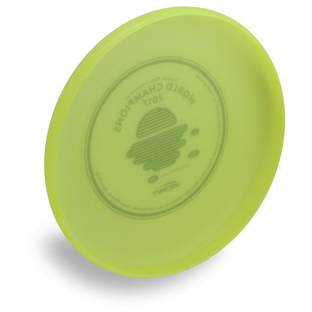 Discraft Sky-Styler FPA 2019 Design. Angled bottom view of yellow disc.