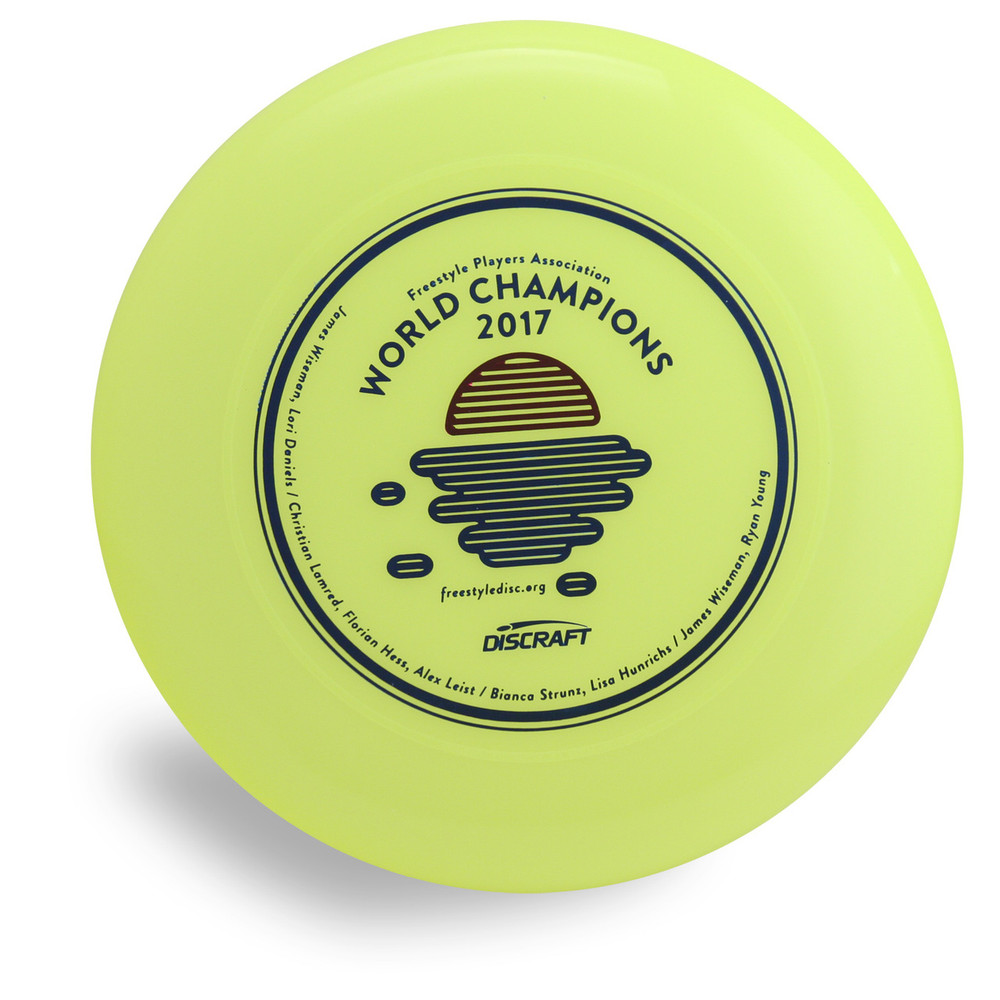 Discraft Sky-Styler FPA 2019 Design. Top view of yellow disc.