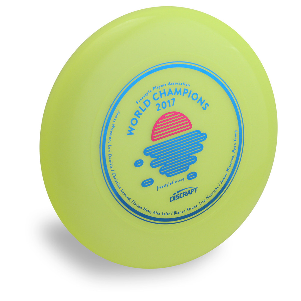 Discraft Sky-Styler FPA 2019 Design. Angled top view of yellow disc.