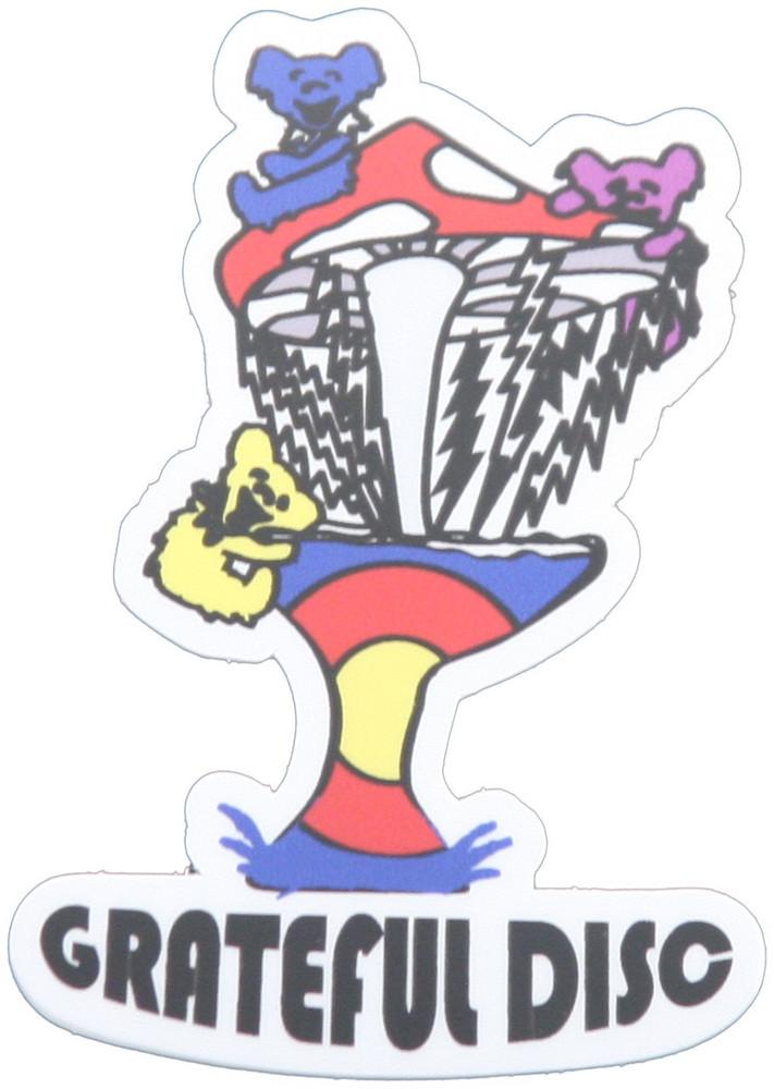 GRATEFUL DISC GOLF STICKER - DANCING BEARS MUSHROOM DISC GOLF BASKET