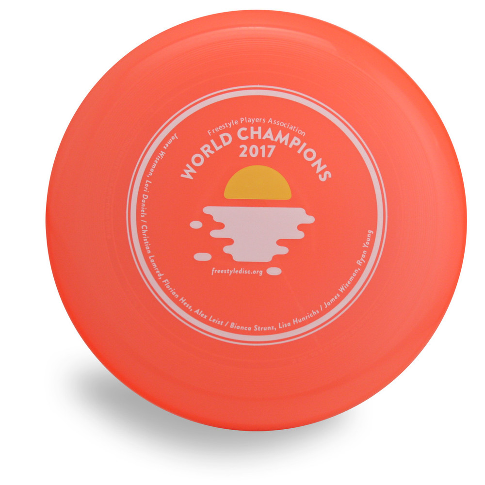 Wham-O 100 Mold FPA 2018 Design. Shows top view of an orange disc.