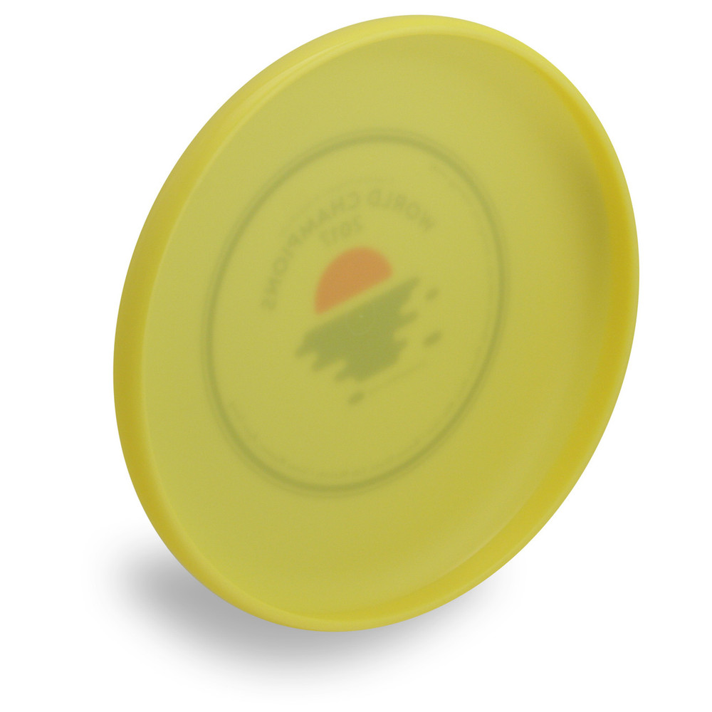 Wham-O 100 Mold FPA 2018 Design. Shows angled bottom view of a yellow disc.