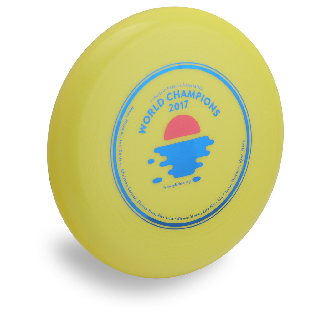Wham-O 100 Mold FPA 2018 Design. Shows top view of a yellow disc.