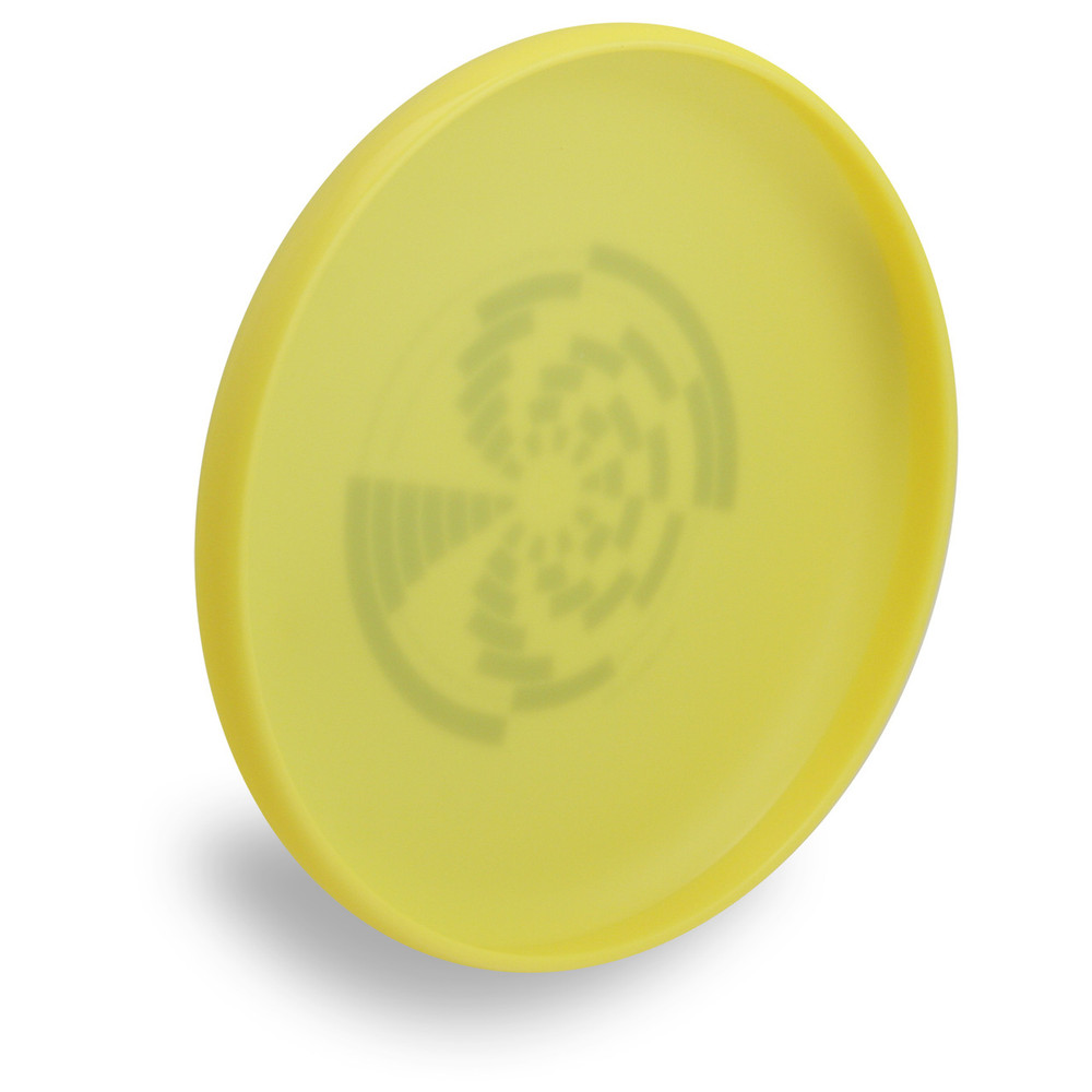 Wham-O 100 Mold FPA 2017 Design. Shows angled bottom view of a yellow disc.