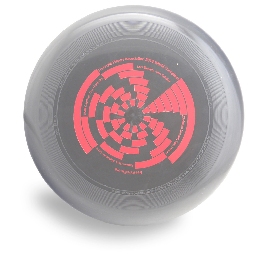 Wham-O 100 Mold FPA 2017 Design. Shows top view of a black disc.