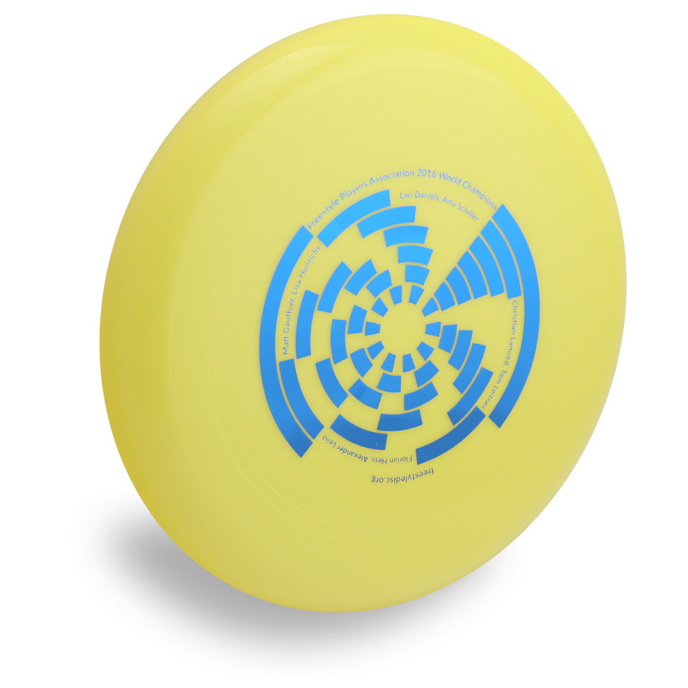 Wham-O 100 Mold FPA 2017 Design. Shows angled top view of a yellow disc.