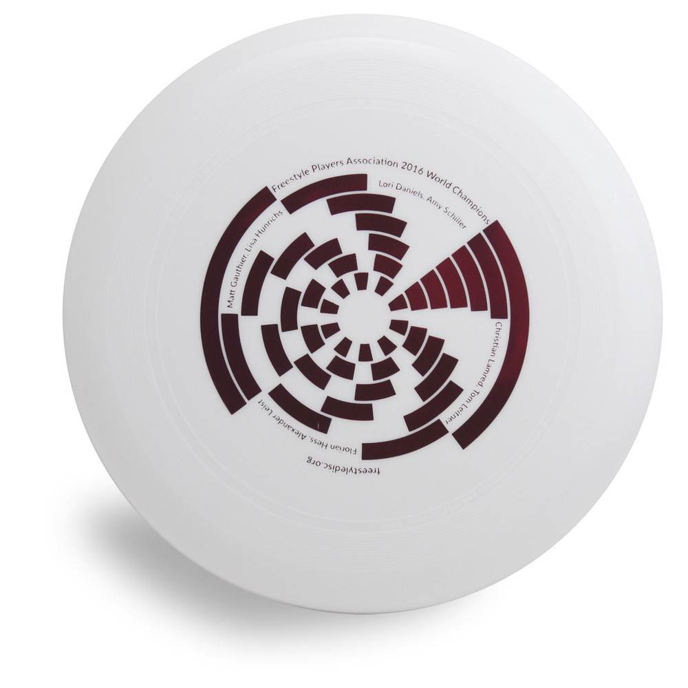 Wham-O 100 Mold FPA 2017 Design. Shows top view of a white disc.