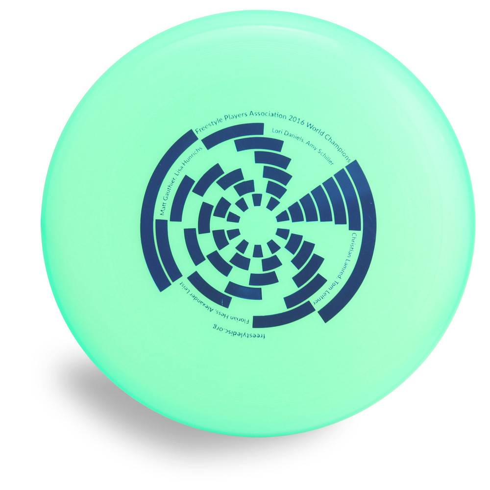 Wham-O 100 Mold FPA 2017 Design. Shows top view of a green disc.