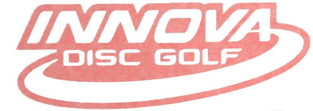 "Innova cut-out vinyl decal in red that says ""Innova disc golf"""