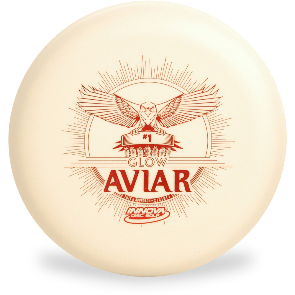 Innova Glow DX Aviar showing top of disc with red design of a bird with wings spread out landing on a disc golf basket