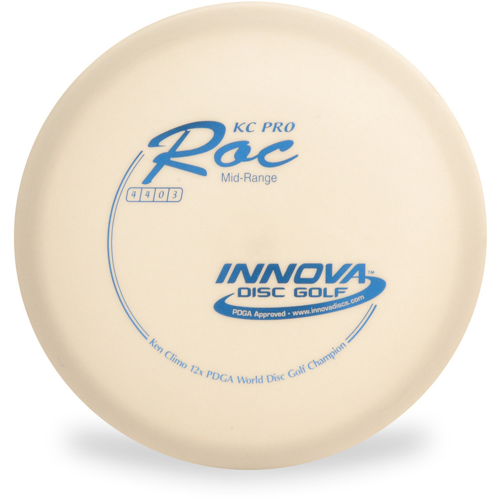 Innova KC PRO ROC Disc Golf Approach Disc - front view white with blue stamp