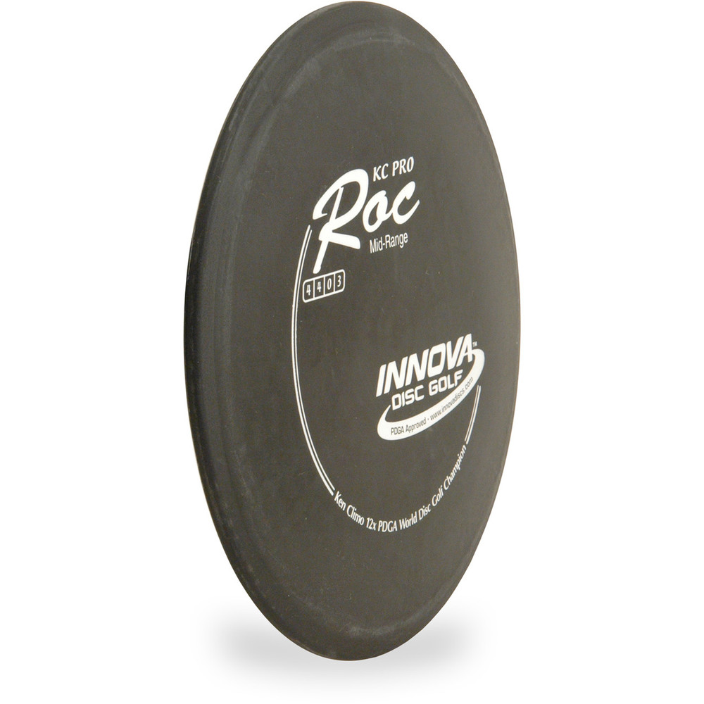 Innova KC PRO ROC Disc Golf Approach Disc - angled front view black with white stamp