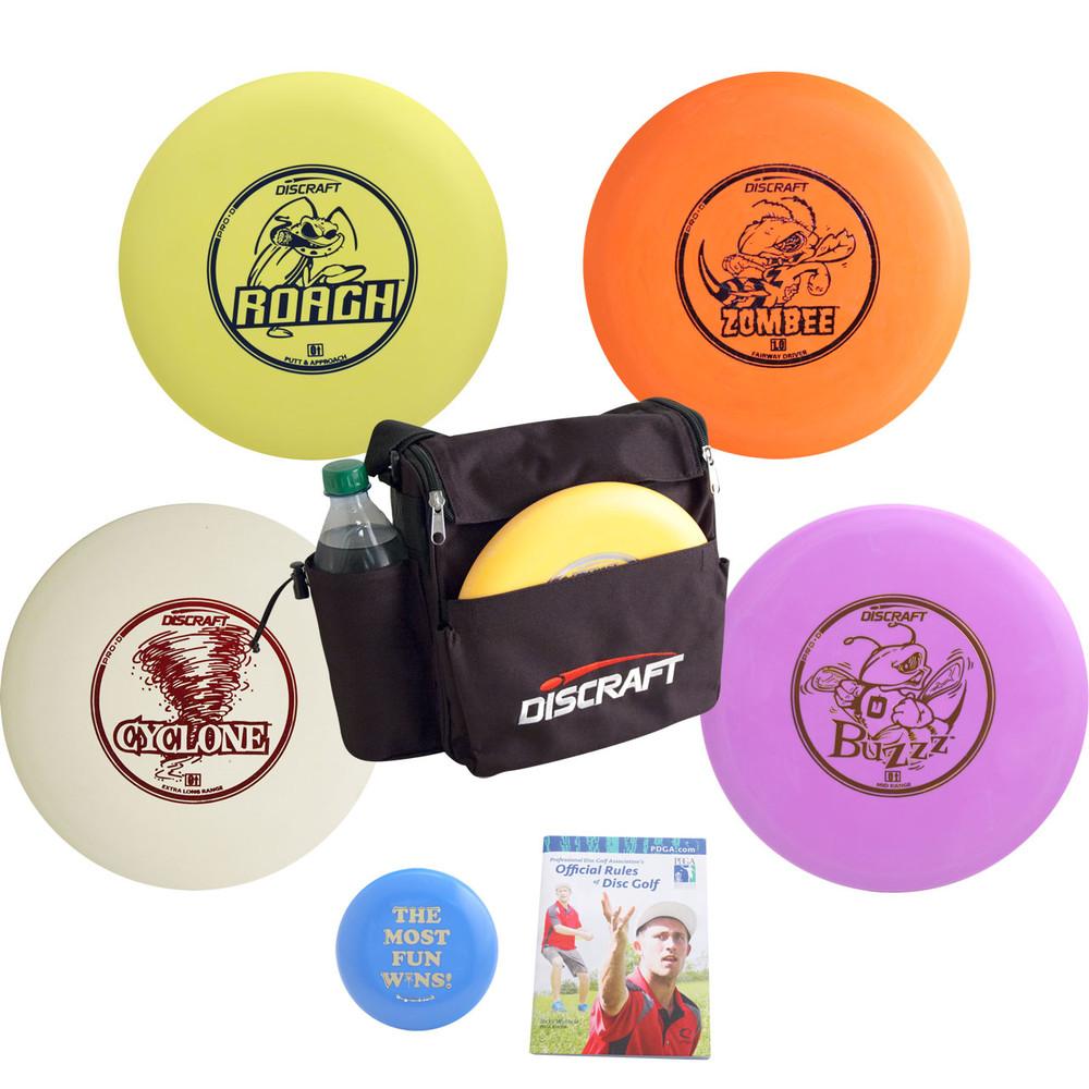 Complete Discraft Disc Golf Gift Set - Backpack Bag, Discs, Mini Marker, Rules - 4 Discs