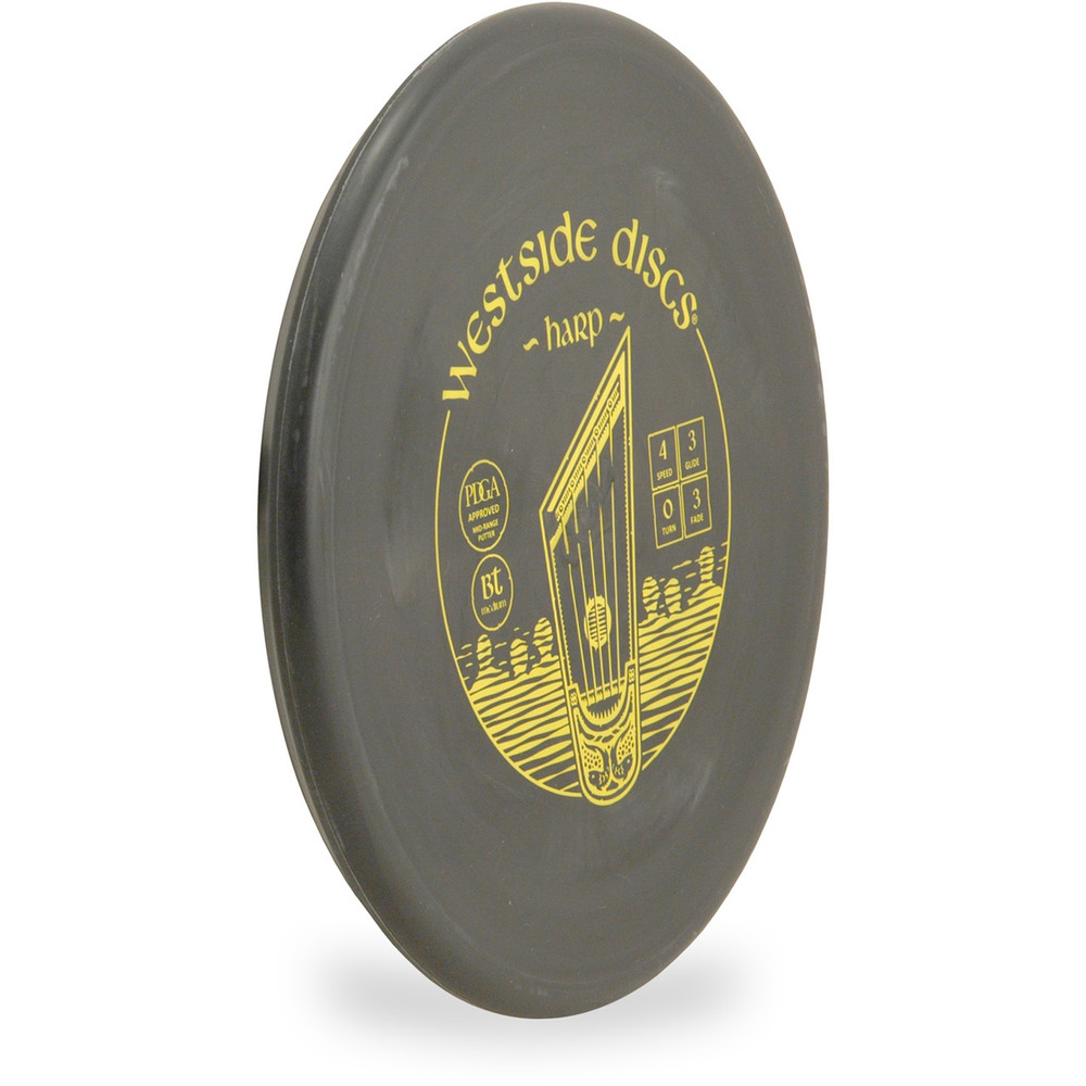 Westside Discs BT MEDIUM HARP Disc Golf Putter - angled front view black