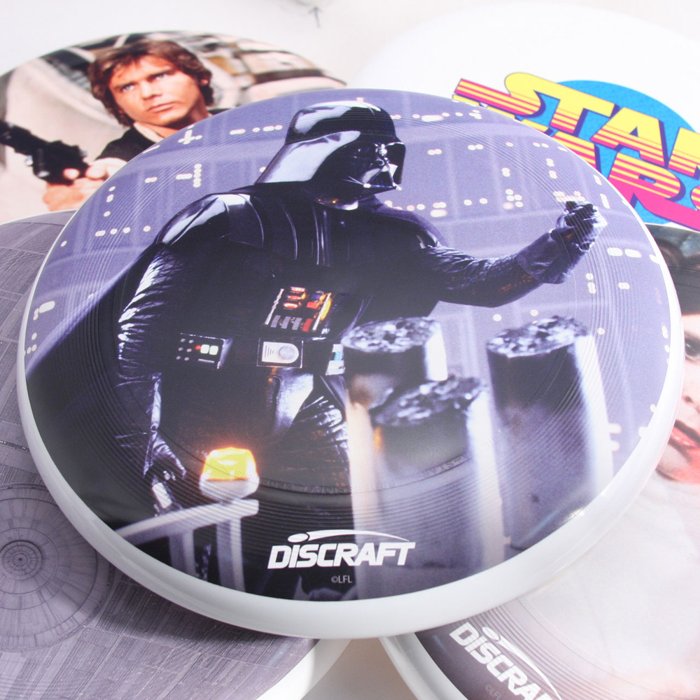 Discraft ULTRA-STAR - STAR WARS DESIGNS SuperColor Ultimate Frisbee Disc - five designs spread out and overlapping with Darth Vader centered in image