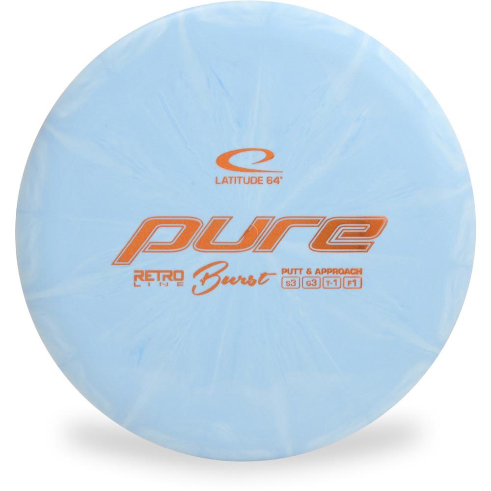 Latitude 64 RETRO BURST PURE Disc Golf Putter & Approach blue front view
