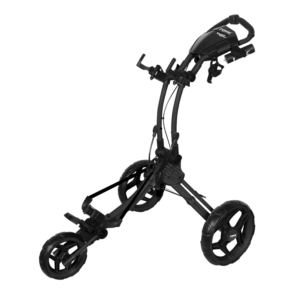 ROVIC RV1D Disc Golf Cart from ProActive Sports - shows cart in expanded, usable configuration with diagram of a backpack disc golf bag hung on the frame - charcoal/black colorway shown