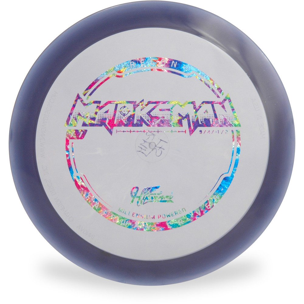 Hyzer Bomb RECON MARKSMAN Driver Golf Disc Purple w/ Rainbow Foil Front View