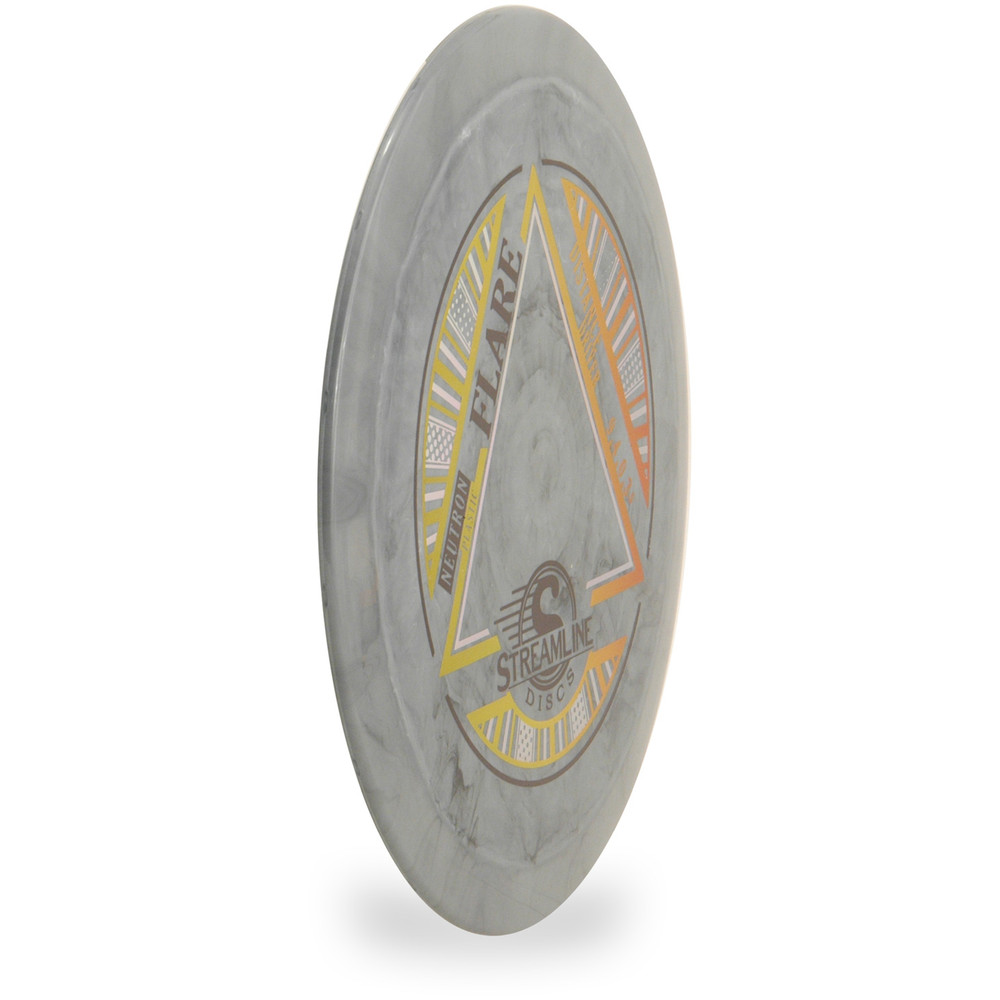 Streamline NEUTRON FLARE Disc Golf Driver - angled front view of gray disc