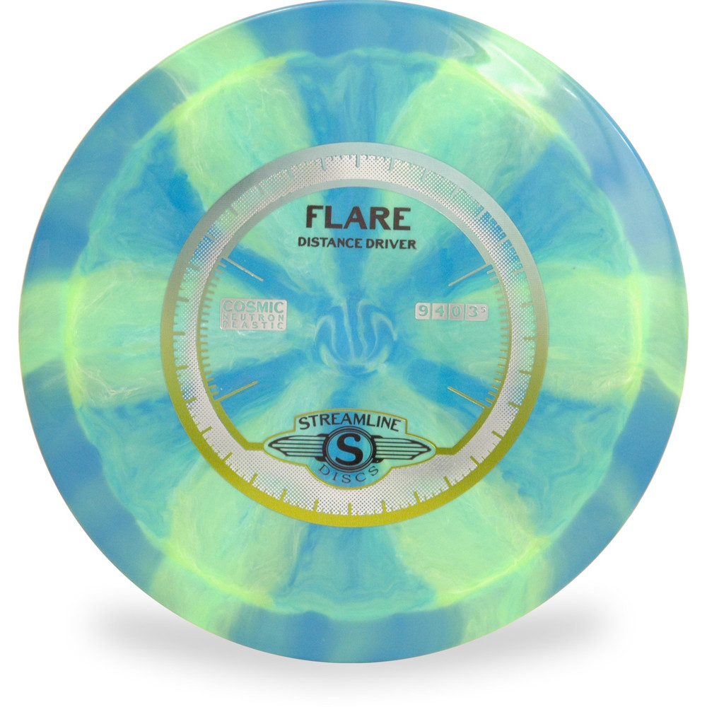 Streamline COSMIC NEUTRON FLARE - Swirly Disc Golf Driver - swirly blue and green color front view